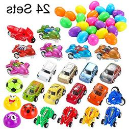 24 PCs Filled Surprise Eggs with Toy Cars, 2.25î Bright Col