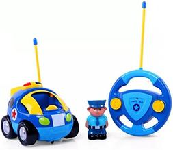 Haktoys My First RC Cartoon Police Car with Music Button and