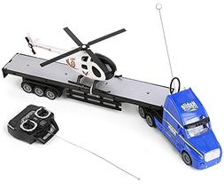 SumacLife Full Function Remote Controlled Blue Big Rig Flatb