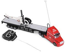 SumacLife Full Function Remote Controlled Red Big Rig Flatbe