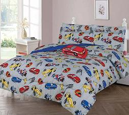 Elegant Home Multicolor Grey Red Blue Yellow Racing Cars Des