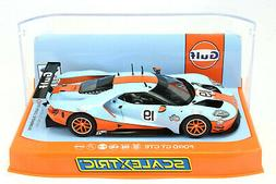 """Scalextric """"Gulf"""" Ford GT GTE DPR W/ Lights 1/32 Scale Slot"""