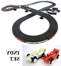 JJ_TOYS Indy Style Slot Car Track Ho Scale Race Set New Impr