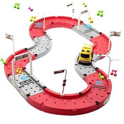 Lydaz Car Race Track Set Music Toy with Intelligent Truck DI