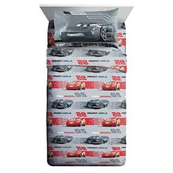 3 Piece Kids Grey Red Lightning McQueen Sheet Set Twin Sized