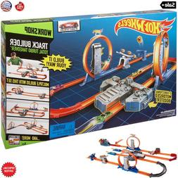 Kids Hot Wheels Racing Cars Race Track Set + 2 Motorized Boo