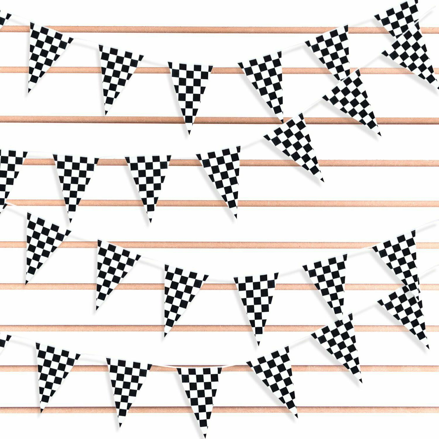 100' Feet Black and White Checkered Flags Pennant String Ban