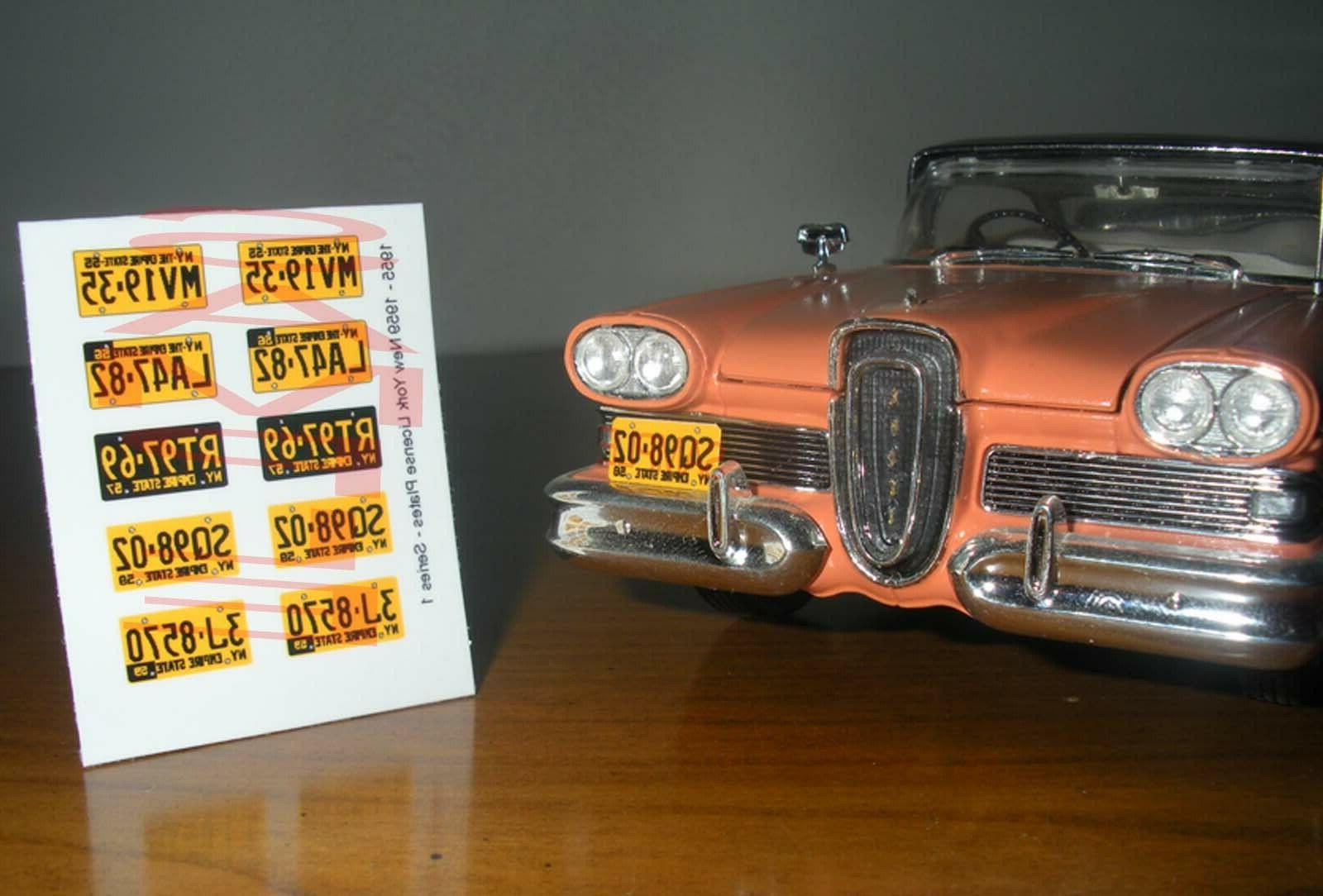 1955 - 1959 NEW YORK miniature LICENSE PLATES for 1/25 scale