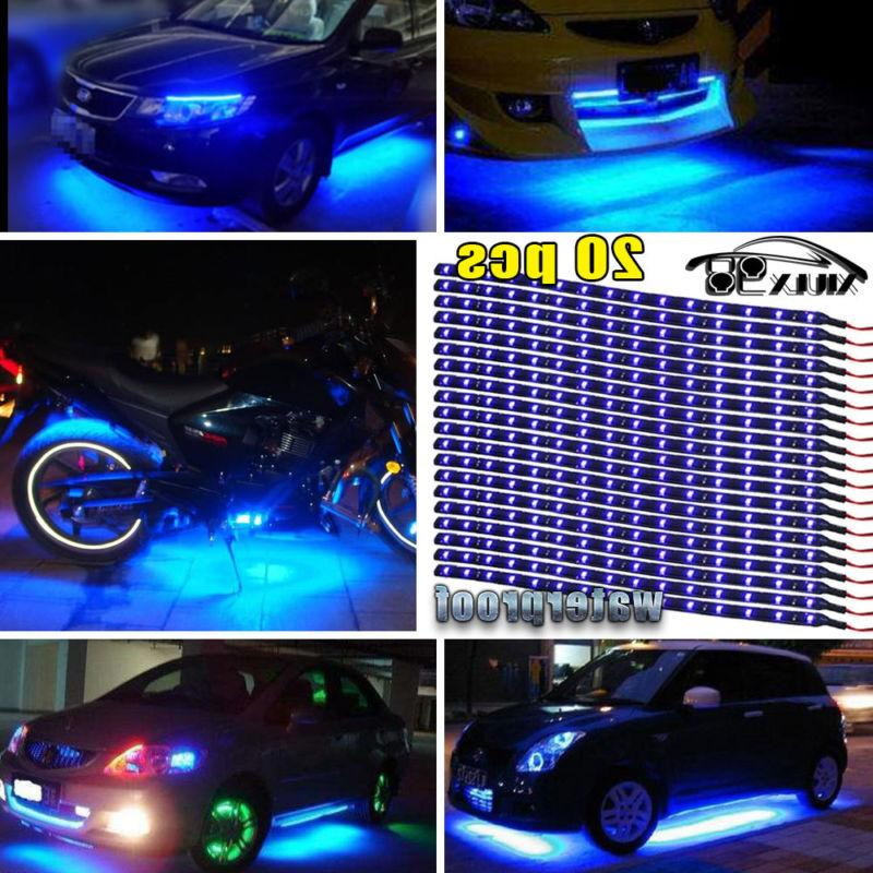 "20X Blue 15LED/12"" Flexible Light Strip for Car Boat Truck D"