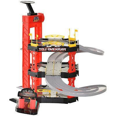 3-Level Parking Racetrack Toy Car Helicopter