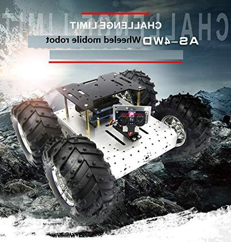 4WD Smart Robot Car Chassis Mobile Platform Withcoded 4 DC Motor Wheels Arduino Robot