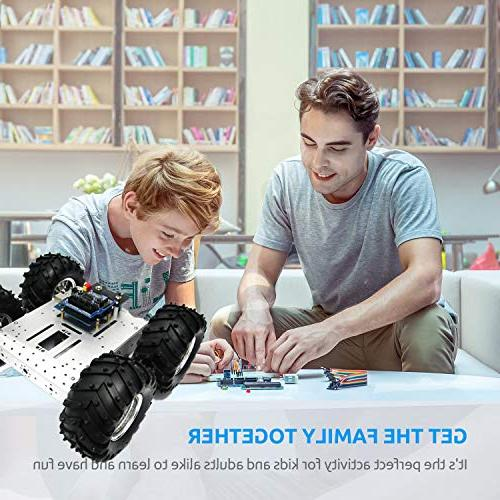4WD Robot Chassis Kit Smart Off-Road Car Robot Chassis Mobile Robot Withcoded 4 Motor Speed Encoder Wheels Arduino