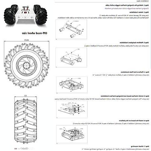 4WD Chassis Kit Smart Off-Road Car Chassis Mobile Robot Withcoded 4 Motor Wheels Arduino Robot