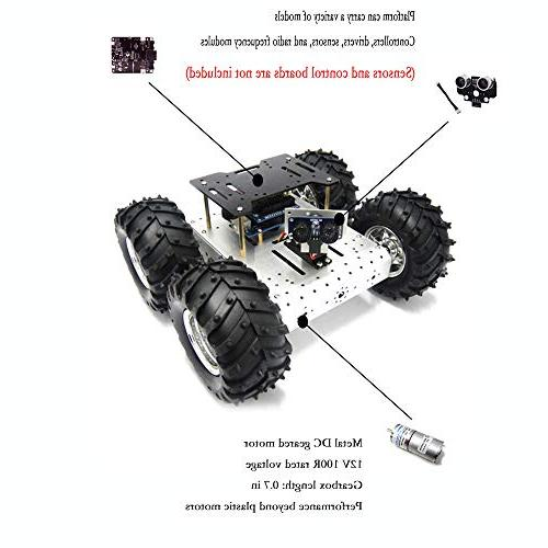4WD Robot Smart Car Robot Car Aluminum Chassis Mobile Withcoded 4 DC Motor with Wheels for PI, Arduino