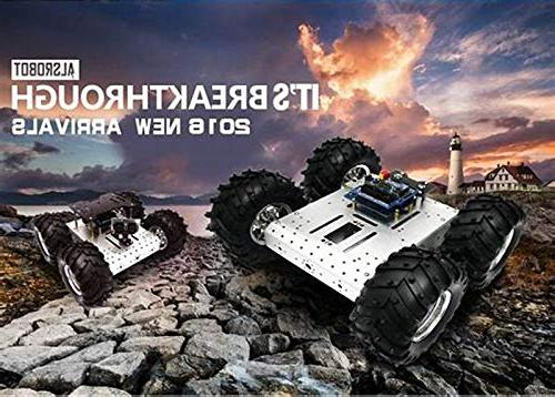 4WD Robot Smart Car Robot Alloy Chassis Mobile Withcoded Motor Speed Arduino Projects