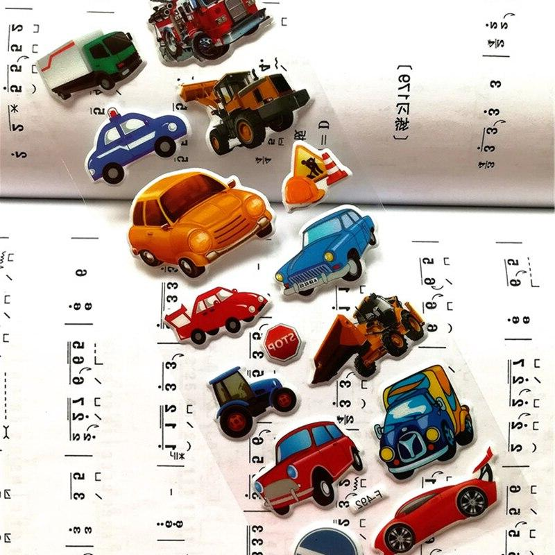 7*17cm / lot Mixed Cartoon Bubble <font><b>Transport</b></font> Children Kids Girls&Boys Cartoon Stickers Scrapbook