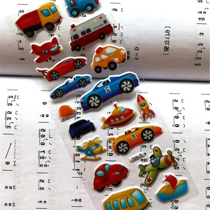 7*17cm 6PCS / Mixed <font><b>Transport</b></font> <font><b>Cars</b></font> Kids Girls&Boys Cartoon Stickers Scrapbook