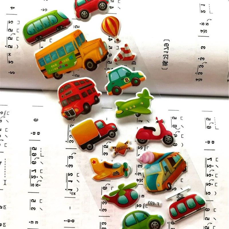 7*17cm 6PCS lot Mixed Cartoon Stickers <font><b>Transport</b></font> Girls&Boys Scrapbook