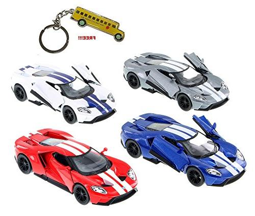 """Set of 4: 5"""" 2017 Ford GT with Strips 1/38 Scale Diecast Mod"""