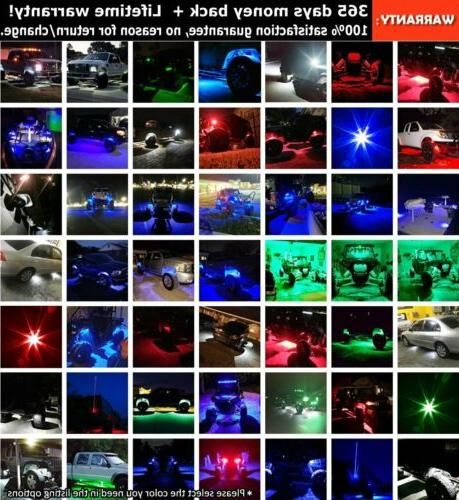 Blue LED Rock 4 pods Lights Off Road Truck Car ATV SUV Under X4