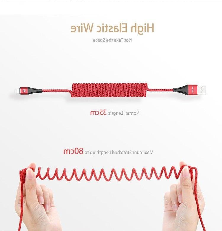 fast charger coiled spring usb lightning cable