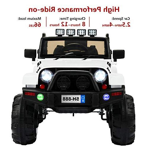 Uenjoy 12V Motorized Cars for Kids with Speeds, Head Lights,Music,Bluetooth Controller,White
