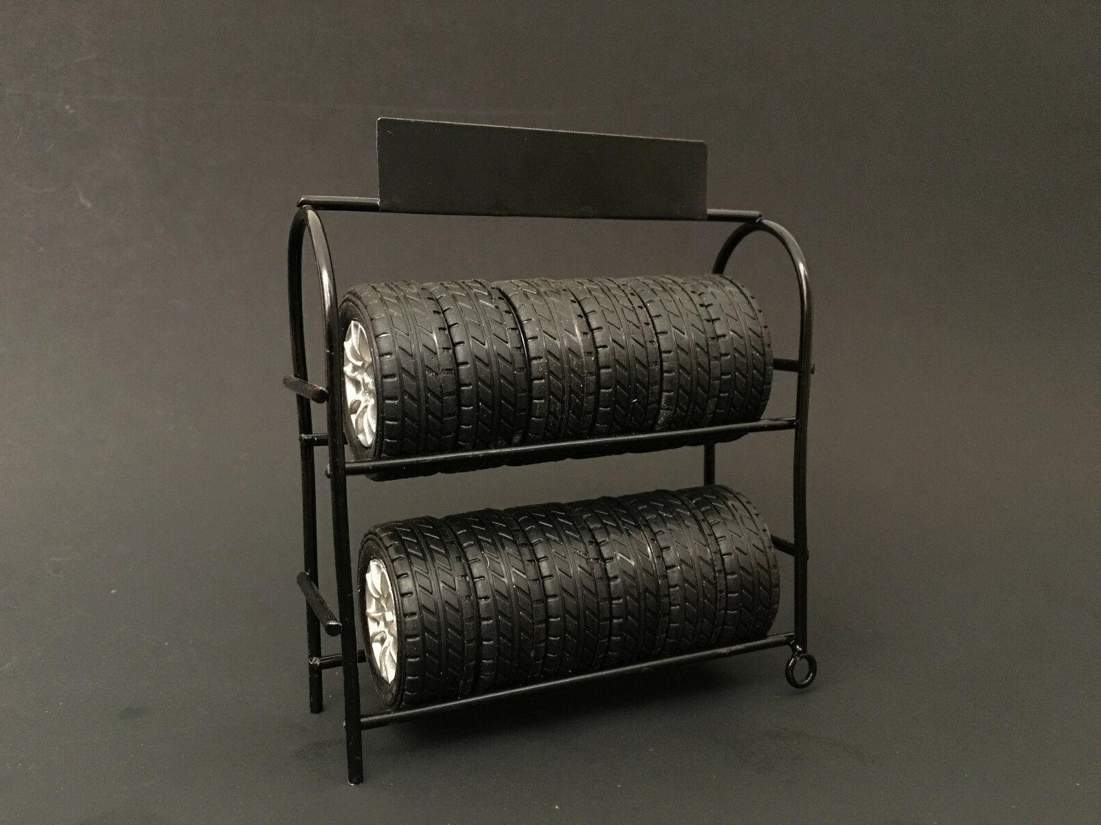METAL TIRE RACK WITH WHEELS 1:18 SCALE DIECAST MODELS BY AME