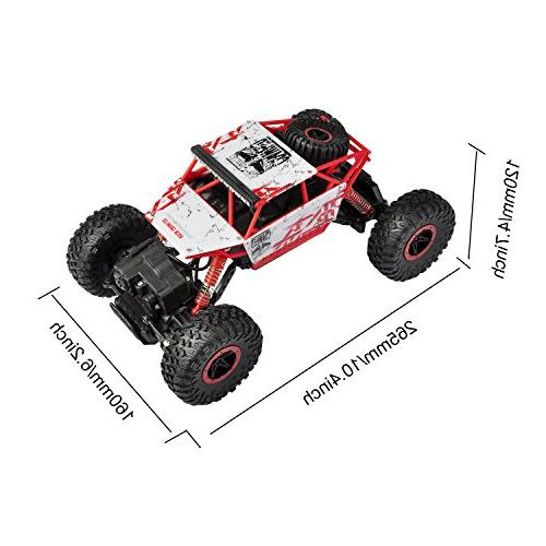 hapinic Two Battery 4WD 2.4Ghz 1/18 Crawlers Road Vehicle Car Red
