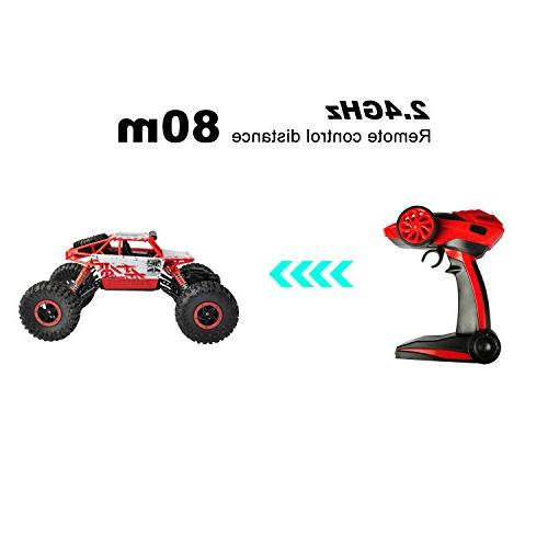 hapinic Two 2.4Ghz 1/18 Crawlers Vehicle Toy Control Car Red Color
