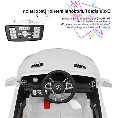 Uenjoy Ride Car One Licensed Electric for Kiddie Remote LED Lights Suspension Safety Lock White