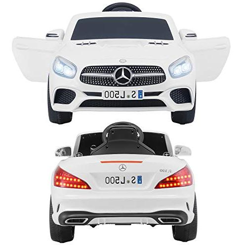 Uenjoy 12V Ride Car One Mercedes-Benz Electric Cars Kiddie Ride & Remote LED & Suspension Safety White