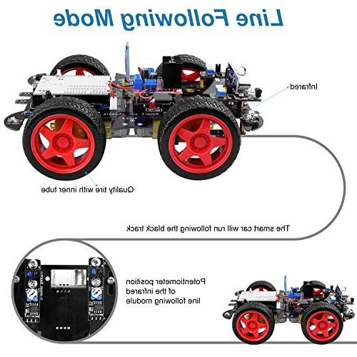 UNIROI Robot Car Kit Robot with 4 Drive, Arduino UNO R3 Ultrasonic Tracking Module