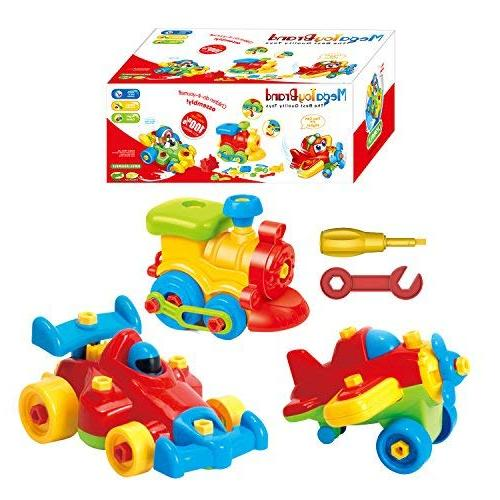 Take - Airplane Toy - Train Toy - Car For - Stem Construction Tool Engineering Toys For Girls 3,4,5,6 Years Old Up, GIFT