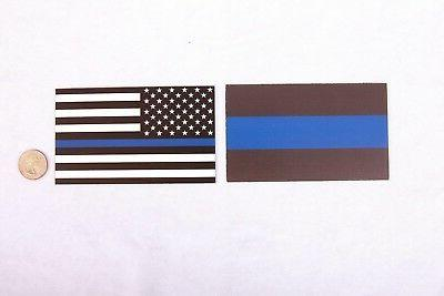 Thin Blue Line/Thin Blue Line American Flag 3x5 inch Combo Pack for Car