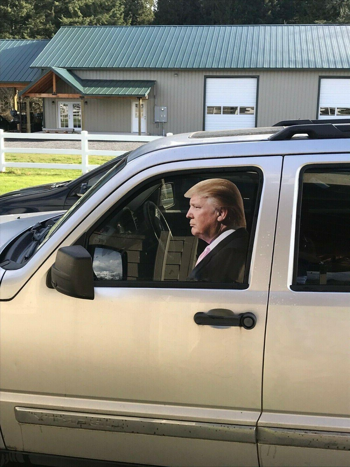 Trump car sticker, life size, adhesive back, passenger side