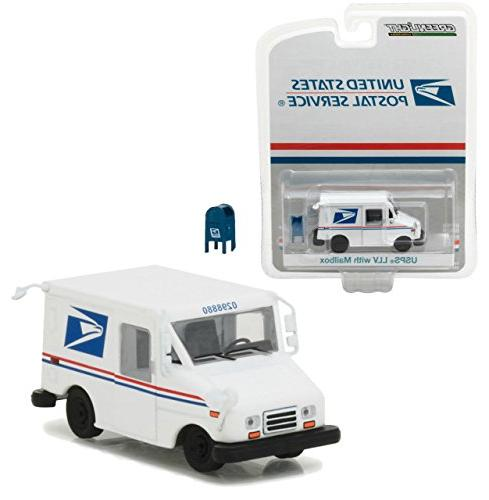 Greenlight 29888 States Postal Service Long Postal Vehicle with Exclusive Diecast Car White