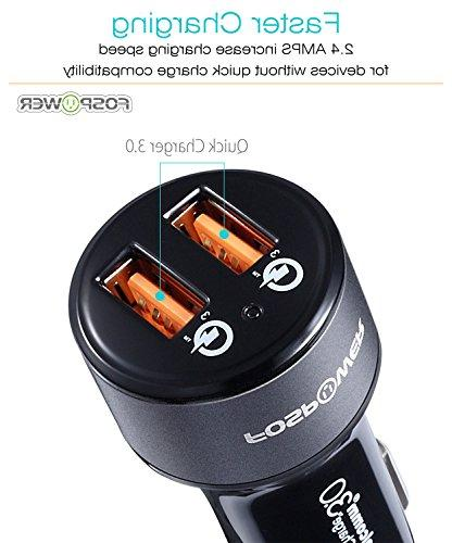 FosPower Quick Charge 3.0 Dual USB Ports with Device providing Charging for iPhone 8, Galaxy 9, Pixel 2 G6