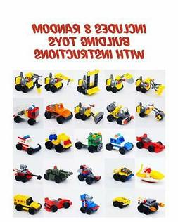 Building Brick Vehicles with Minifigures  for Party Favors,