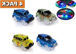 Light Up Toy Car Green Military Jeep, 2 Blue Police Cars and