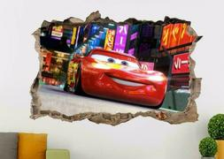 LIGHTINING MCQUEEN Disney Cars Smashed Wall 3D Decal Wall St