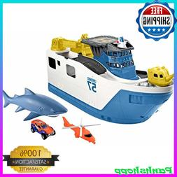 Matchbox Playset Shark Ship Floats in Water and Rescue on La