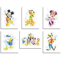 Mickey Mouse Wall Art Watercolor Poster Prints - Set of Six