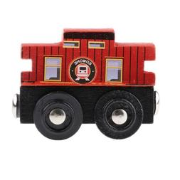 Cartoon Wooden Magnetic Train Cars Railway System Toy Access