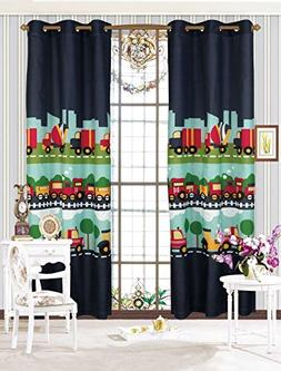 MK Home Mk Collection 2 Panel Curtain With Grommet Cars Trai