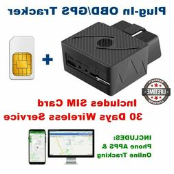 OBD GPS Tracker for cars, SIM Card, Real-Time Tracking Servi