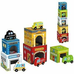 Play Vehicles 5 Cars and Stack-able Garages for Toy Cars Toy