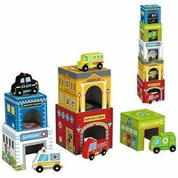 Play Vehicles 5 Cars And Stack-Able Garages For Toy Cars, To