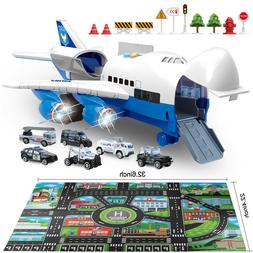 Police Toy Cars Vehicles Set&Plane Toy with Play Mat Gift fo