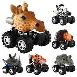 Pull Back Animal Car, Car Toy with Big Tire Wheel For 3+ Yea