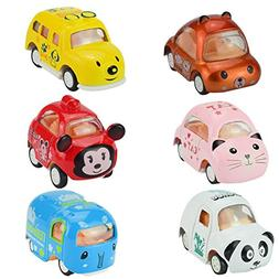 Jellydog Toy Pull Back Cars, 6 Pack Assorted Mini Pull Back